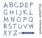 blue marker hand drawn english... | Shutterstock .eps vector #605697740
