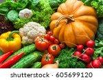 lots of fresh organic... | Shutterstock . vector #605699120