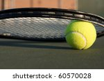 tennis ball and racket on the... | Shutterstock . vector #60570028