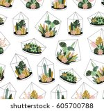 hand drawn contained tropical... | Shutterstock .eps vector #605700788
