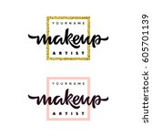 makeup artist fashion logo.... | Shutterstock .eps vector #605701139