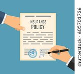 man signs insurance policy.... | Shutterstock .eps vector #605701736