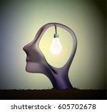 Man Profile Head With Bulb...