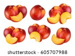 peach isolated. collection of... | Shutterstock . vector #605707988