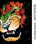 abstract roaring  lion  ... | Shutterstock .eps vector #605709338