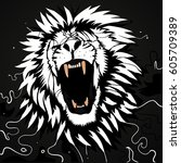 abstract roaring  lion  ... | Shutterstock .eps vector #605709389