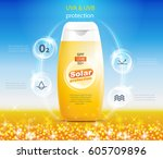 sunscreen advertising poster... | Shutterstock .eps vector #605709896