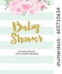 gorgeous baby shower invitation ... | Shutterstock .eps vector #605710634
