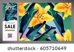 floral flayer  discount voucher ... | Shutterstock .eps vector #605710649