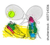 vector illustration of drawing... | Shutterstock .eps vector #605714336