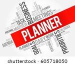 planner word cloud business... | Shutterstock . vector #605718050