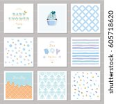 boy baby shower templates... | Shutterstock .eps vector #605718620