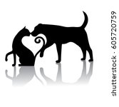 dog and cat touching noses... | Shutterstock .eps vector #605720759