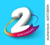 anniversary emblems 2... | Shutterstock .eps vector #605728004