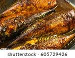mackerel in marinade  baked in... | Shutterstock . vector #605729426
