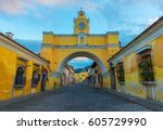 the santa catalina arch and the ... | Shutterstock . vector #605729990