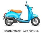 blue italian scooter.... | Shutterstock . vector #605734016