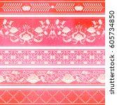seamless vector set of five... | Shutterstock .eps vector #605734850