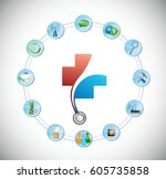 health care medical tools and... | Shutterstock .eps vector #605735858