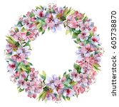 floral watercolor wreath from... | Shutterstock . vector #605738870