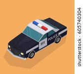 police car vectors.isometric | Shutterstock .eps vector #605740304