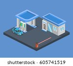 isometric flat 3d concept gas... | Shutterstock . vector #605741519