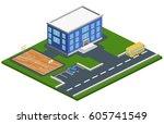 isometric 3d concept... | Shutterstock . vector #605741549