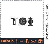 fire equipment icon flat.... | Shutterstock . vector #605742506