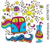 the car is a hippie. vector... | Shutterstock .eps vector #605748770