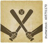hands with baseball bats and... | Shutterstock .eps vector #605751170