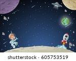 astronaut cartoon boy flying in ... | Shutterstock .eps vector #605753519