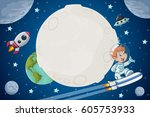 astronaut cartoon boy flying in ... | Shutterstock .eps vector #605753933