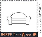 sofa icon flat. simple... | Shutterstock . vector #605754413