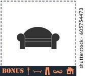 sofa icon flat. simple... | Shutterstock . vector #605754473