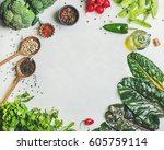 fresh raw greens  vegetables ... | Shutterstock . vector #605759114