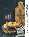 italian pasta dinner. spaghetti ... | Shutterstock . vector #605760146