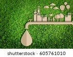 save water concept. paper cut... | Shutterstock . vector #605761010