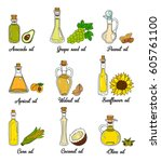 9 cooking oils in cute sketchy... | Shutterstock .eps vector #605761100