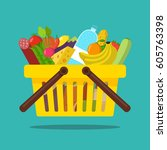 shopping basket with food and...   Shutterstock .eps vector #605763398