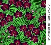 seamless vector floral pattern... | Shutterstock .eps vector #605769140