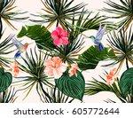 beautiful seamless vector... | Shutterstock .eps vector #605772644