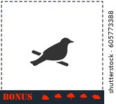 bird icon flat. simple vector... | Shutterstock .eps vector #605773388