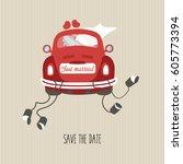 beautiful wedding invitation  ... | Shutterstock .eps vector #605773394