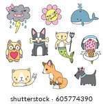 cute cartoon pin badge icons.... | Shutterstock .eps vector #605774390