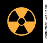 radiation symbol on the black... | Shutterstock .eps vector #605775488