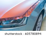 pasting of car carbonic plastic ... | Shutterstock . vector #605780894
