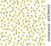cute floral pattern of small... | Shutterstock .eps vector #605784410