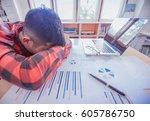 stress at work   | Shutterstock . vector #605786750