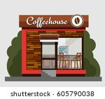 coffeehouse in flat style.... | Shutterstock .eps vector #605790038