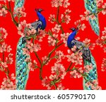 beautiful vector seamless... | Shutterstock .eps vector #605790170